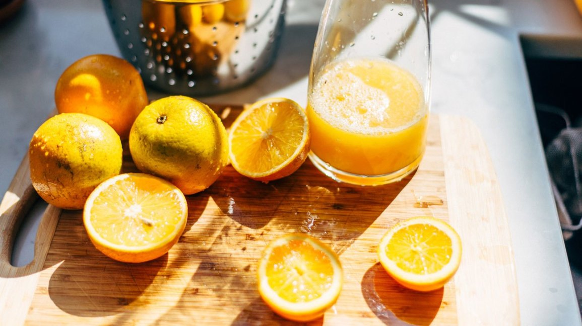 orange juice and the lemon juice